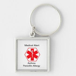 Vakna keychains för medicinsk allergi (anpassadet) fyrkantig silverfärgad nyckelring