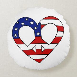 Val för hjärtafredUSA flagga Rund Kudde