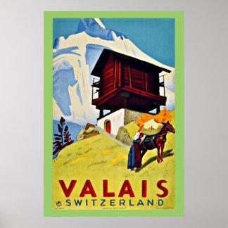 Valais Schweitz vintage resor Poster