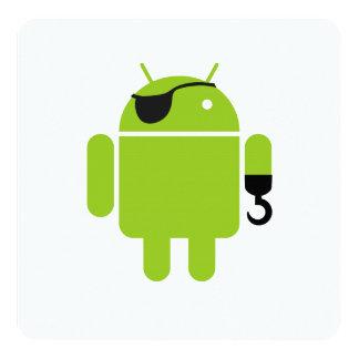 Väldig pirat för Androidrobot Fyrkantigt 13,3 Cm Inbjudningskort