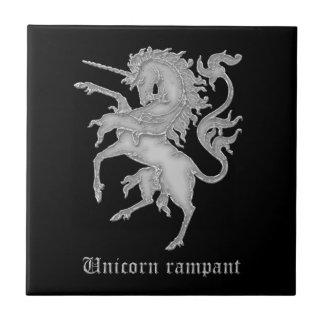 Våldsam medeltida heraldik för Unicorn Liten Kakelplatta