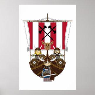 Våldsamma Vikings på den Longship affischen Affisch