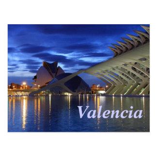 Valencia vid natt vykort