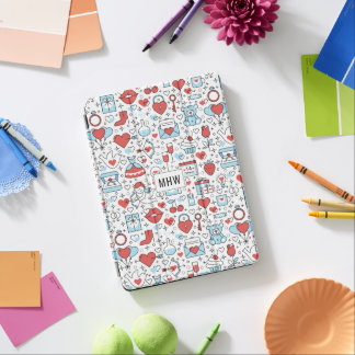 Valentin apparaten för monogramen för dag täcker iPad air skydd