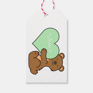 Valentin björn för dagbrunt med ljust - grön presentetikett