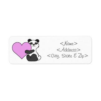 Valentin björn för dagPanda med ljust - rosa Returadress Etikett