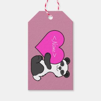 Valentin björn för dagPanda med rosa hjärta Presentetikett