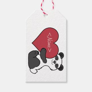 Valentin björn för Panda för dag gullig med röd Presentetikett