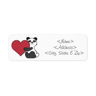 Valentin björn för Panda för dag gullig med röd Returadress Etikett