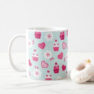 Valentin blommor för muffins för hjärtor för kaffemugg