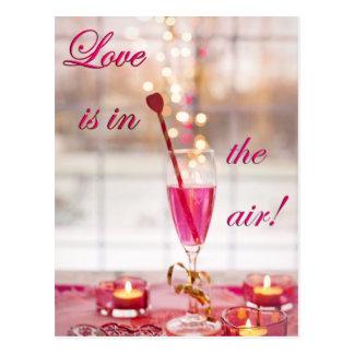 Valentin champagne för dagkärlek vykort