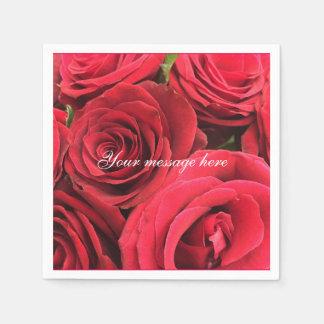 Valentin coctail för röd ros för dagpersonlig papper servetter