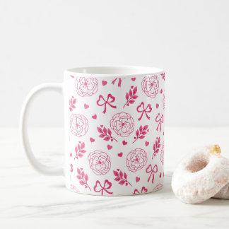 Valentin dag blommar rosa bandhjärtor kaffemugg