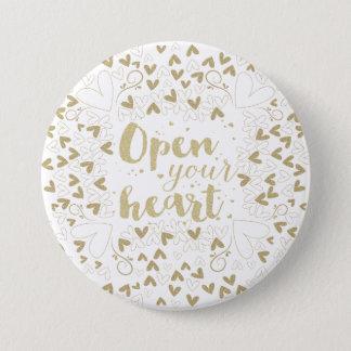 """Valentin dag - guld """"öppna för din hjärta"""" mellanstor knapp rund 7.6 cm"""