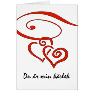 Valentin dag i svensk, hjärtor virvlar runt hälsningskort
