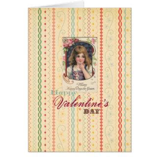 Valentin dagflicka hälsningskort