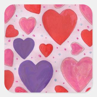 Valentin daghjärtor i rosor, purpurfärgat & rött fyrkantigt klistermärke