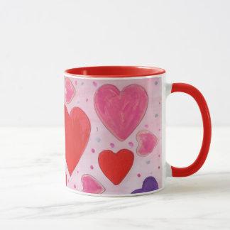 Valentin daghjärtor i rosor, purpurfärgat & rött mugg