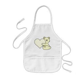 Valentin dagKermode björn med kräm- hjärta Barnförkläde