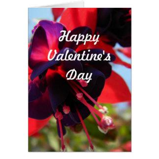 Valentin dagkort med Fuchsia blommor Hälsningskort