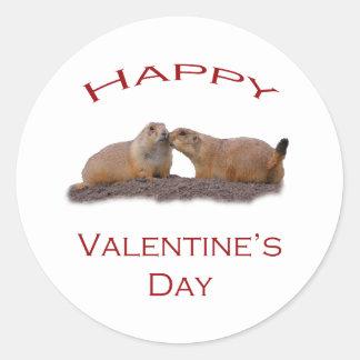 Valentin dagkyss runt klistermärke