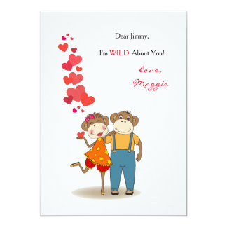 Valentin för apor förälskat kort för dag 12,7 x 17,8 cm inbjudningskort