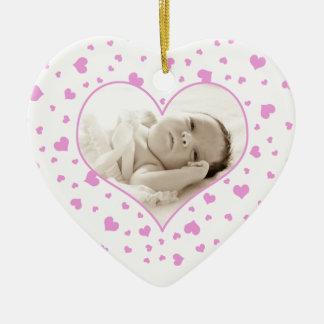 Valentin för mormor lycklig prydnad för foto för julgransprydnad keramik
