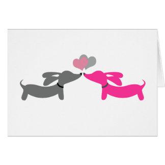 Valentin för taxWienerhund kort för dag