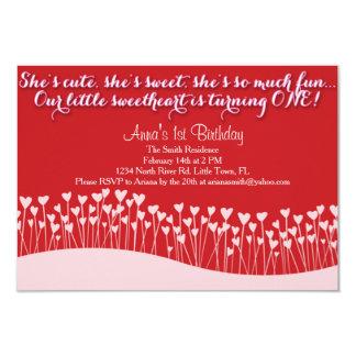 Valentin första födelsedag 8,9 x 12,7 cm inbjudningskort