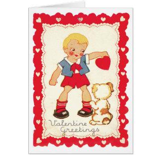 Valentin från en pojke och hans hund hälsningskort