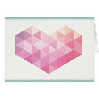 Valentin geometrisk hjärta för dag hälsningskort