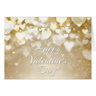 Valentin guld- Bokeh hjärtor Hälsningskort