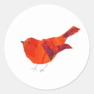 Valentin gullig röd fågel för dag runt klistermärke