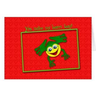 Valentin hoppar gulliga groda kortet hälsningskort