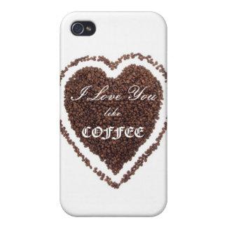 Valentin kärlek för dagkaffe iPhone 4 cover