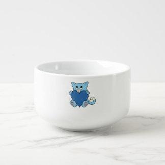Valentin katt för dagblått med hjärta mugg för soppa
