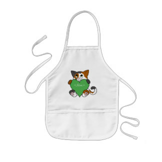 Valentin katt för dagCalico med grön hjärta Barnförkläde