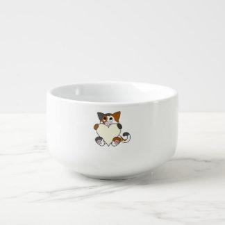 Valentin katt för dagCalico med kräm- hjärta Stor Kopp För Soppa