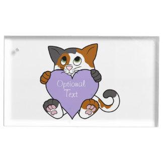Valentin katt för dagCalico med ljust - Bordskorthållare