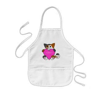 Valentin katt för dagCalico med rosa hjärta Barnförkläde