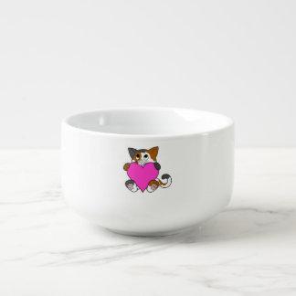 Valentin katt för dagCalico med rosa hjärta Soppmugg