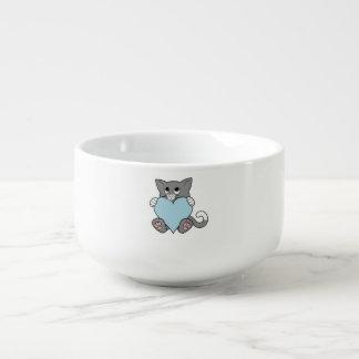 Valentin katten för daggrå färg med ljust - slösa mugg för soppa