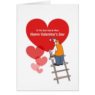 Valentin kort för för dagpappa och mamma, röda