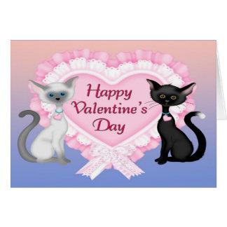 Valentin kort för hälsning för dagkatter