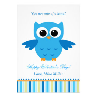 Valentin kort för lägenhet för blått för ungeuggla personliga inbjudan