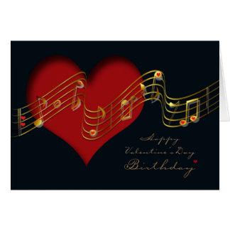 Valentin kort/musik noter för dagfödelsedag hälsningskort