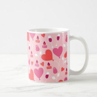 Valentin mönster för ballonger för hjärta för dag kaffemugg