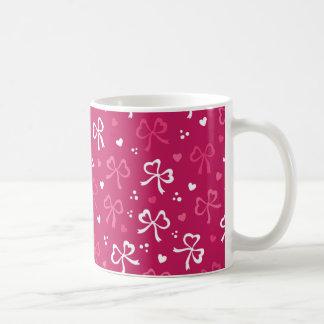 Valentin mönster för hjärtor för rosett band för kaffemugg