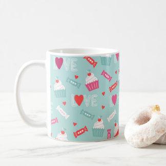 Valentin mönster för kärlek för hjärtor för kaffemugg