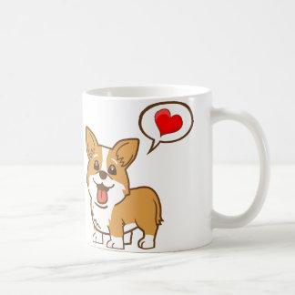 Valentin mugg för kaffe för hjärta för dagCorgi